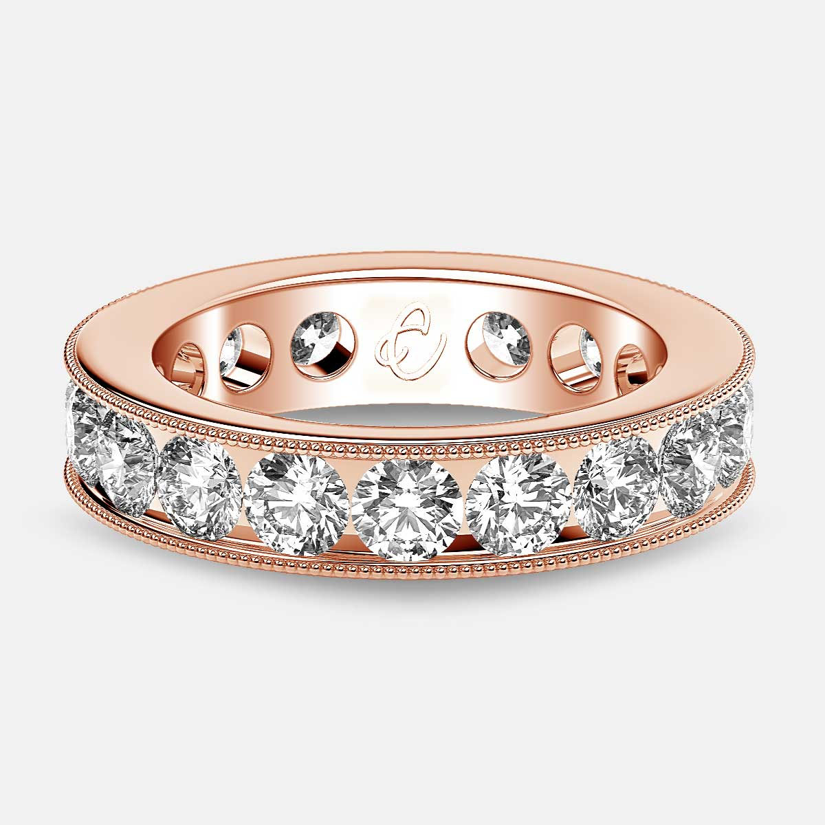 Channel Set Beaded Eternity Ring with Round Diamonds in 18k Rose Gold