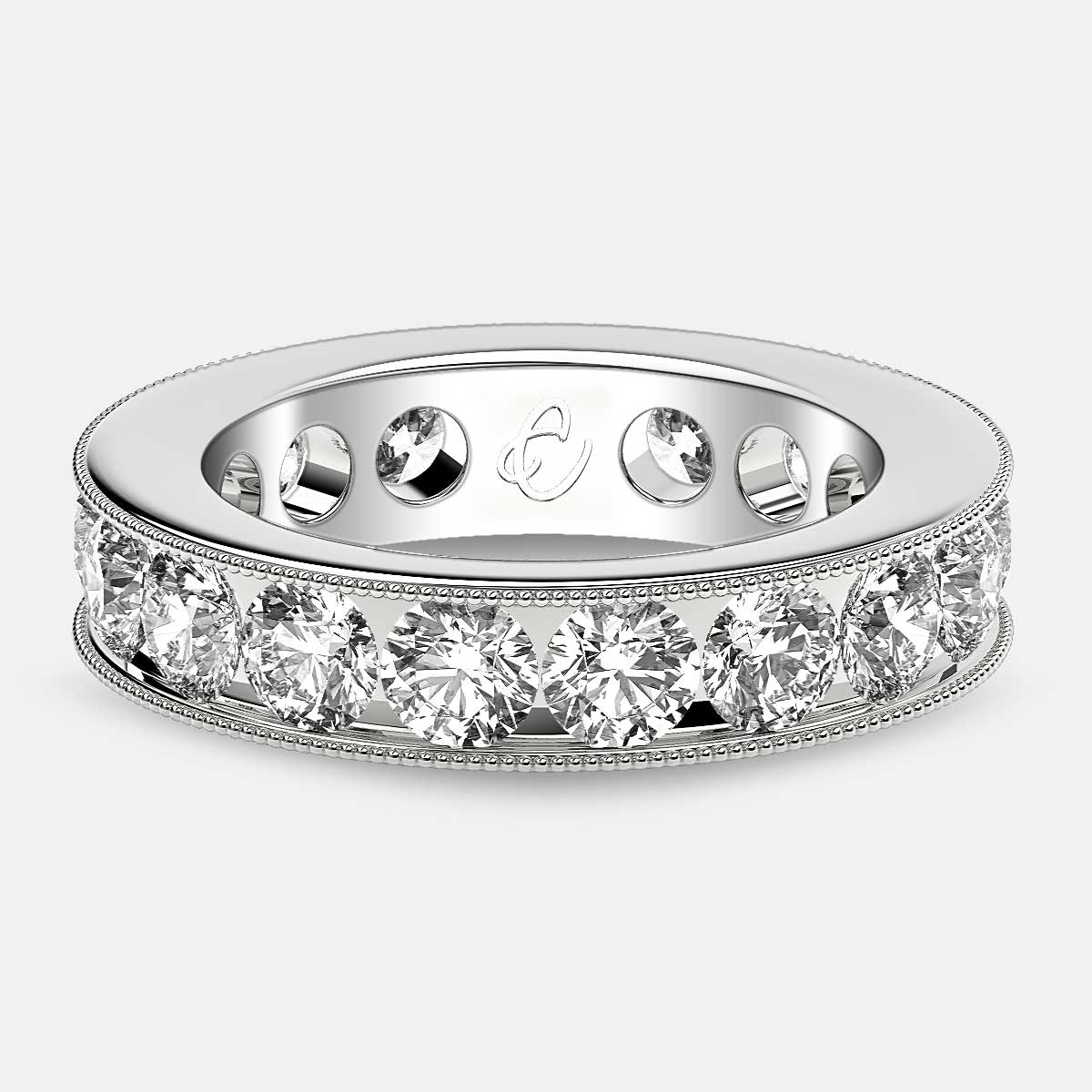 Channel Set Beaded Eternity Ring with Round Diamonds in 18k White Gold