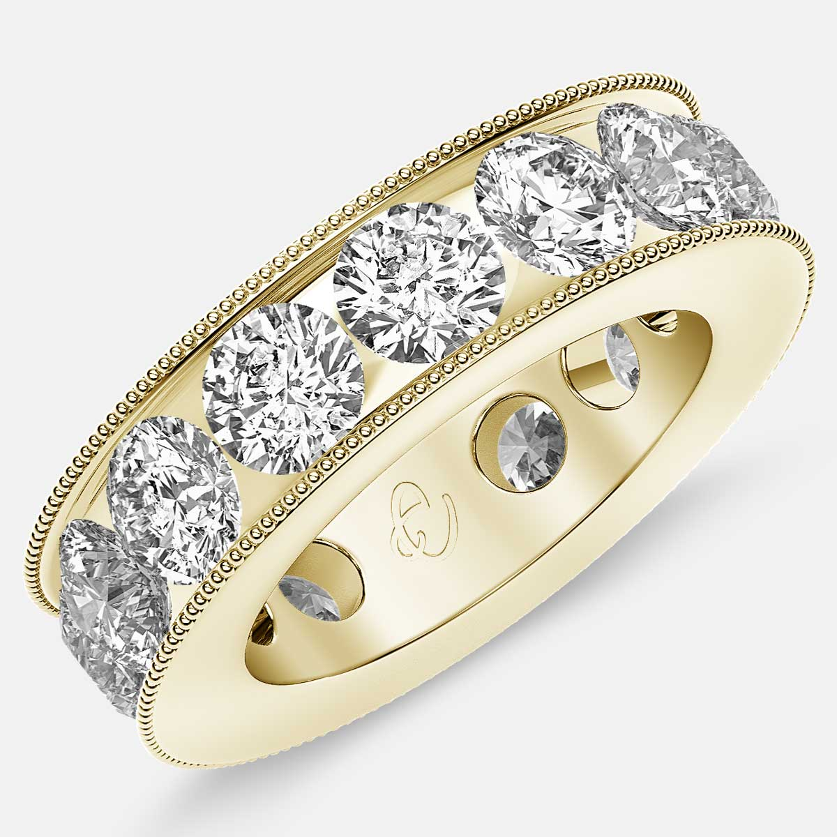 Channel Set Beaded Eternity Ring with Round Diamonds in 18k Yellow Gold