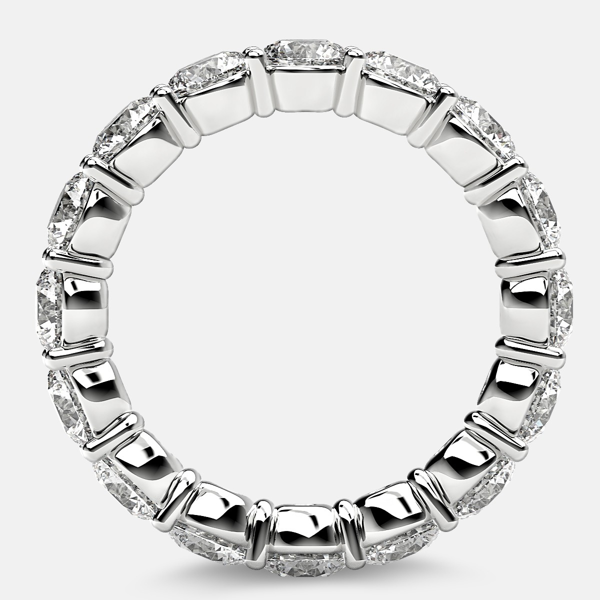 Classic Prong Set Eternity Ring with Round Diamonds in Platinum