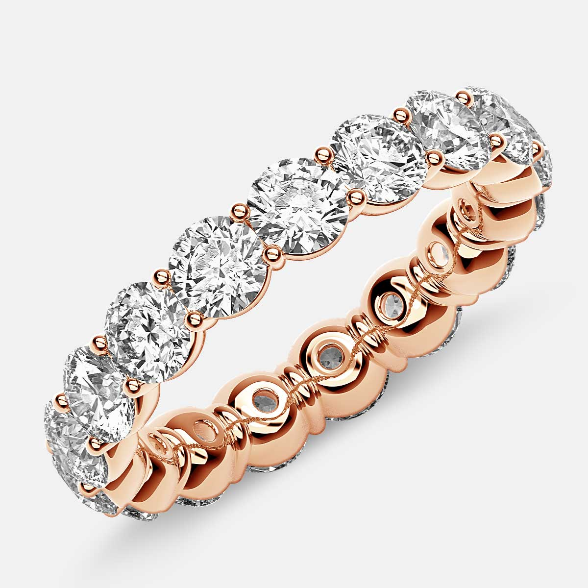 Classic Prong Set Eternity Ring with Round Diamonds in 18k Rose Gold