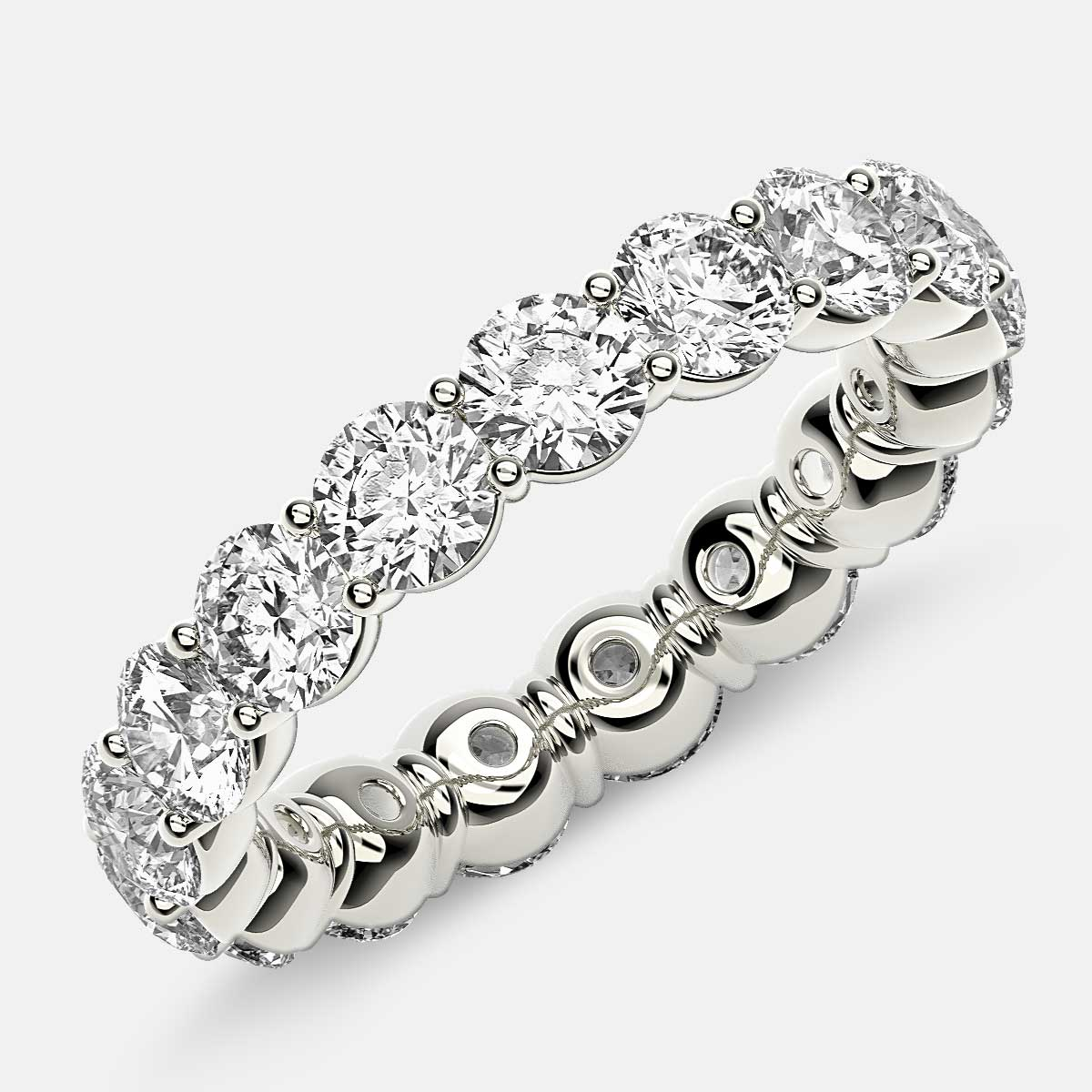 Classic Prong Set Eternity Ring with Round Diamonds in 18k White Gold