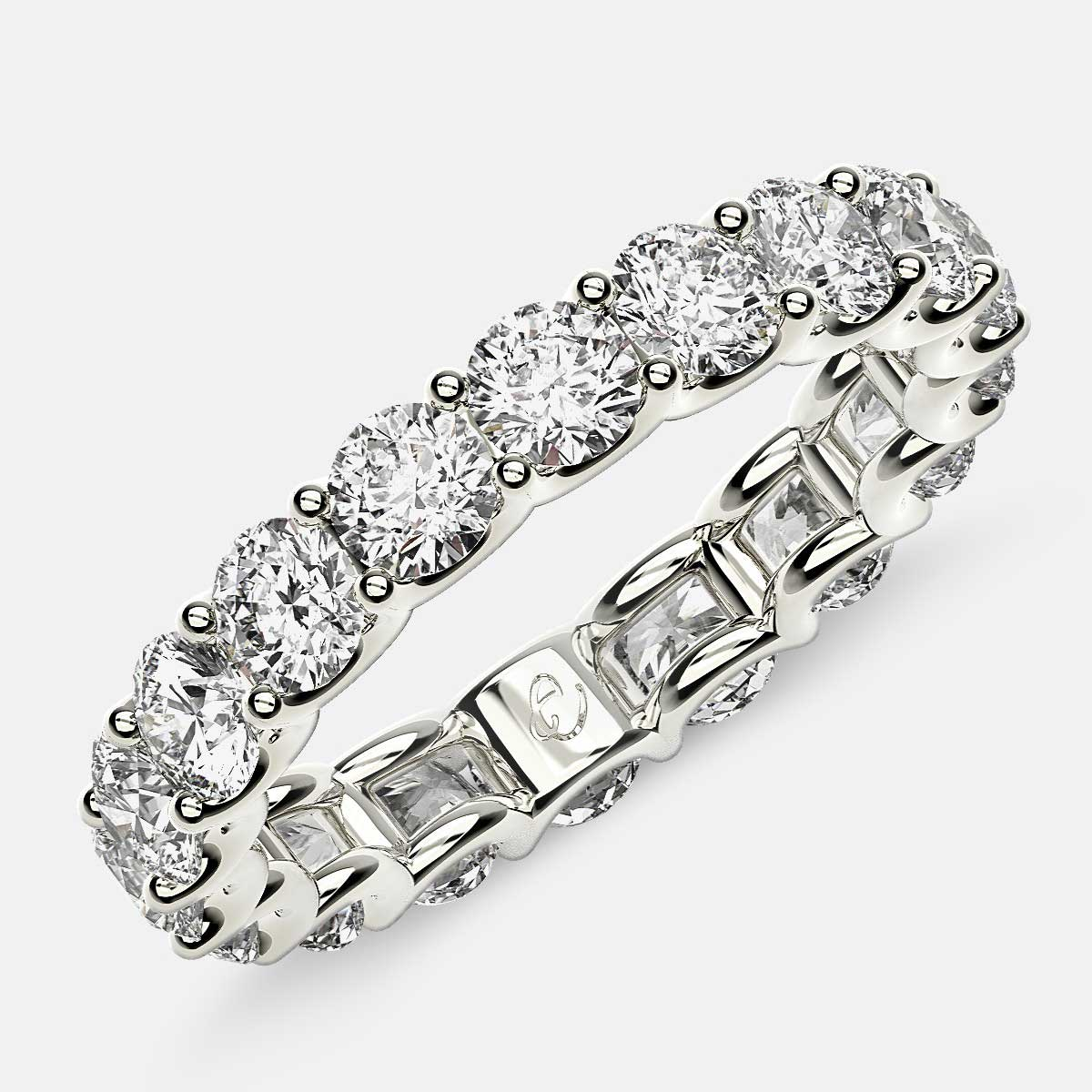 Eternity Ring with Arch Prong Set Round Diamonds in 18k White Gold